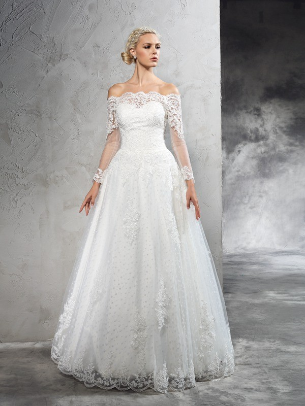 Ball Gown Off-the-Shoulder Lace Long Sleeves Long Net Wedding Dress