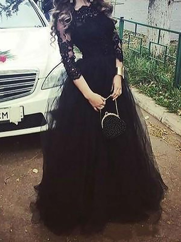 Ball Gown Bateau Floor-Length Tulle Dress with Lace